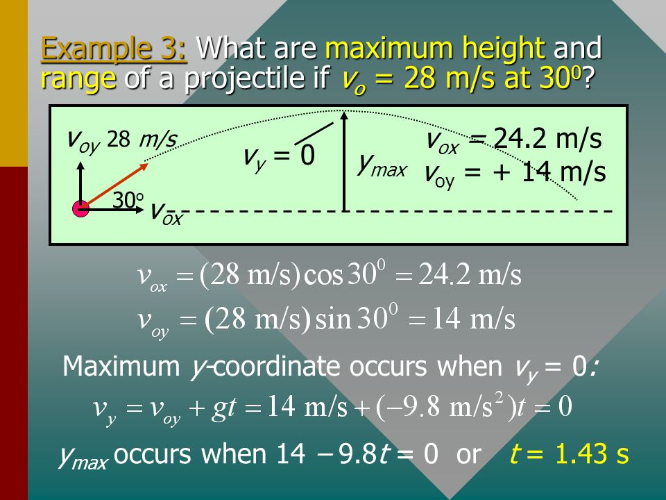 Example 3: What are maximum height and range of a projectile if vo = 28 m/s at 300