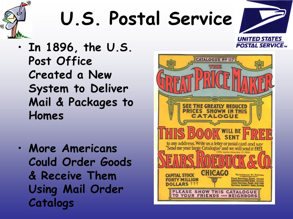 U.S. Postal Service In 1896, the U.S. Post Office Created a New System to Deliver Mail & Packages to Homes.