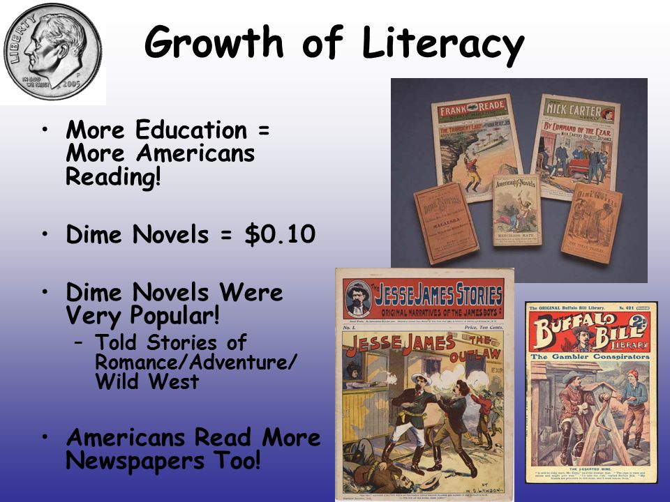 Growth of Literacy More Education = More Americans Reading!