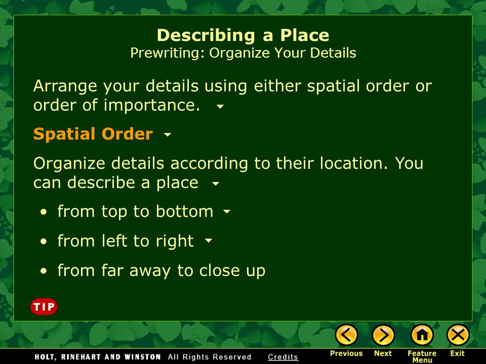 Describing a Place Prewriting: Organize Your Details