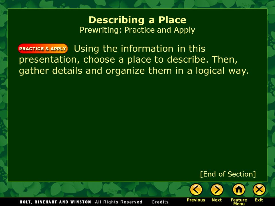 Describing a Place Prewriting: Practice and Apply