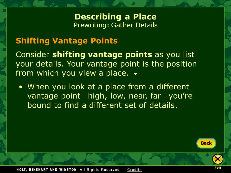 Describing a Place Prewriting: Gather Details
