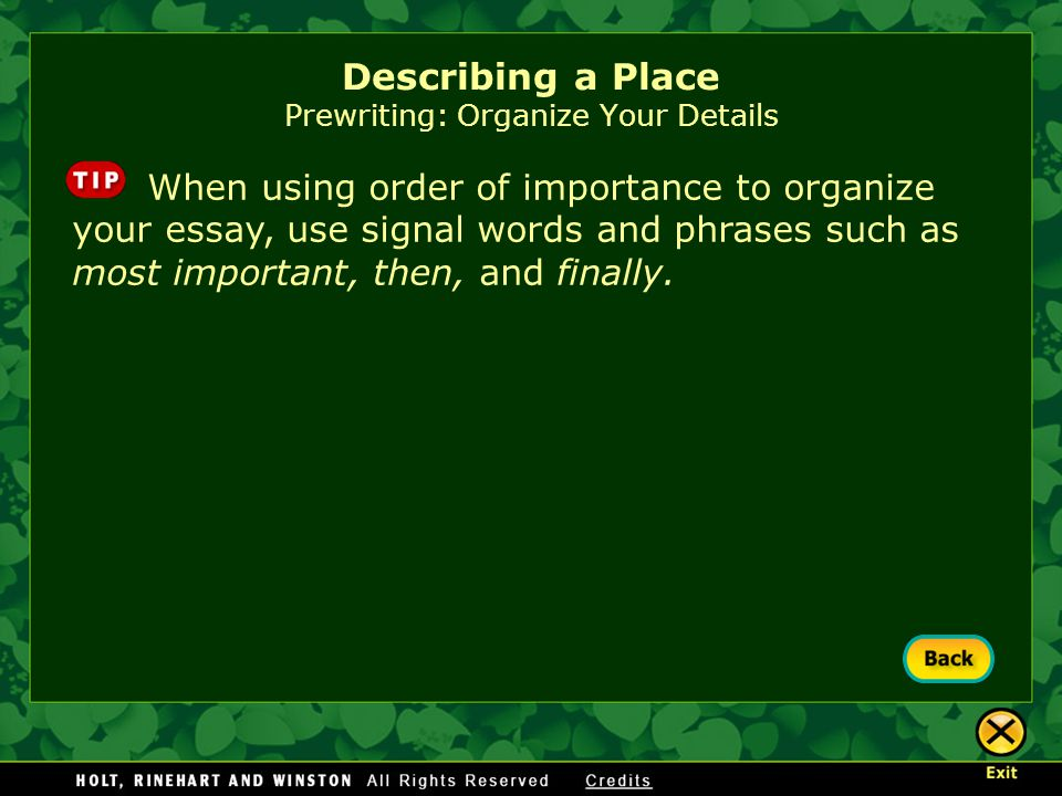 Describing a Place Prewriting: Organize Your Details