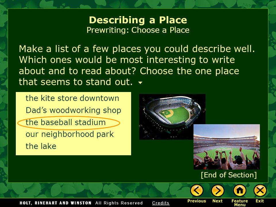 Describing a Place Prewriting: Choose a Place