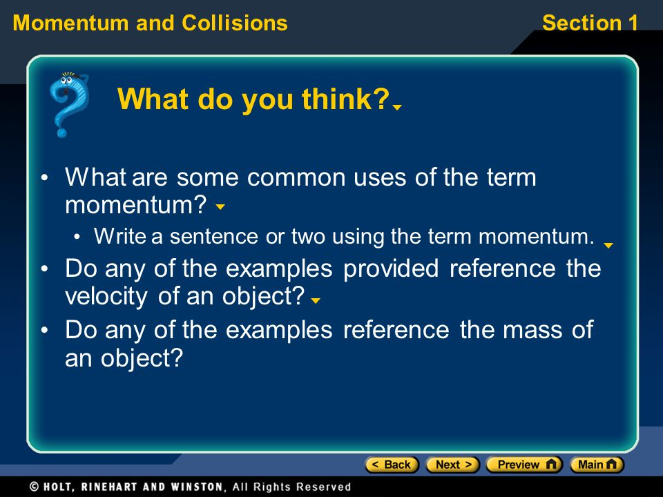 What do you think What are some common uses of the term momentum