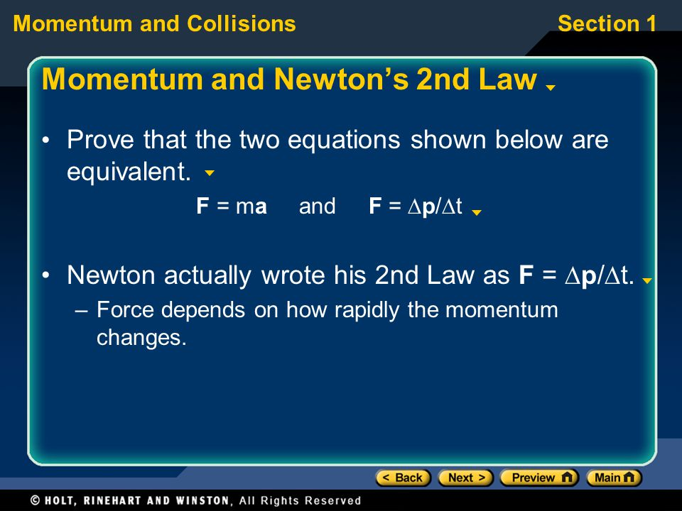 Momentum and Newton's 2nd Law