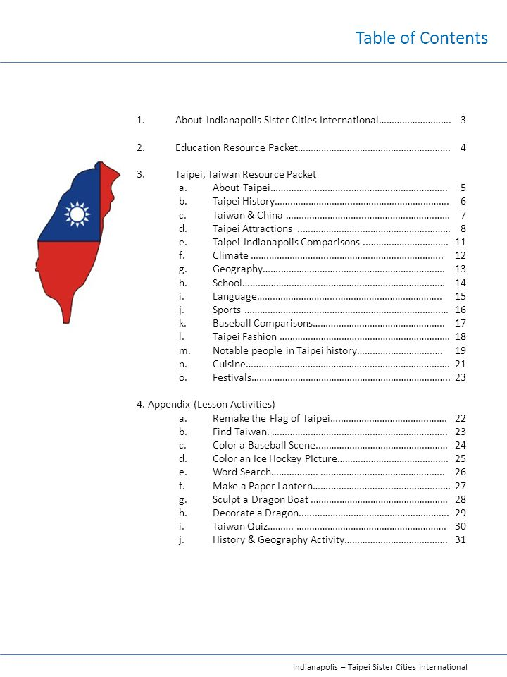 Table of Contents About Indianapolis Sister Cities International………………………. Education Resource Packet……………………………………….………….
