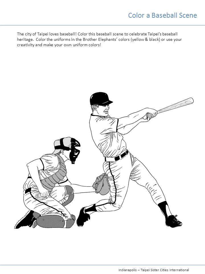 Color a Baseball Scene