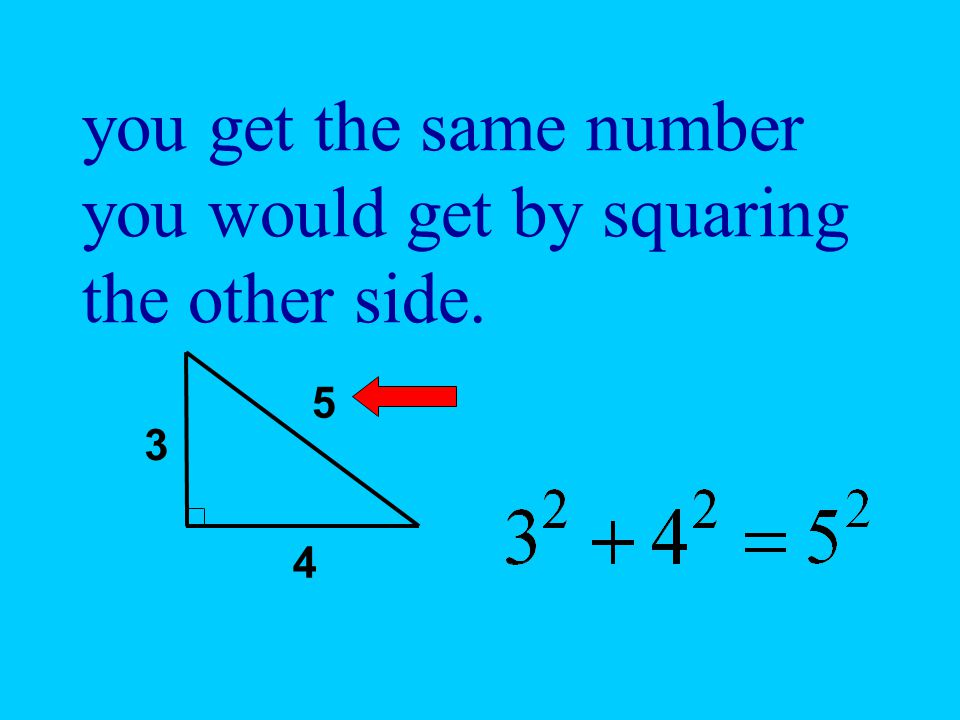 you get the same number you would get by squaring the other side.