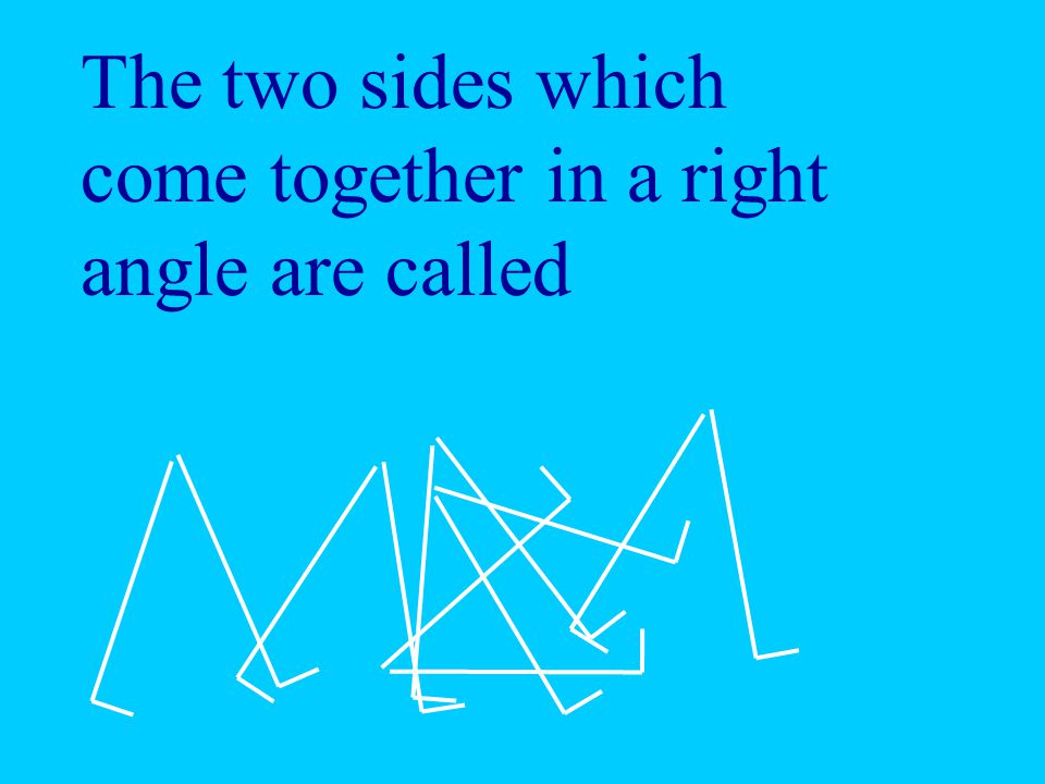 The two sides which come together in a right angle are called