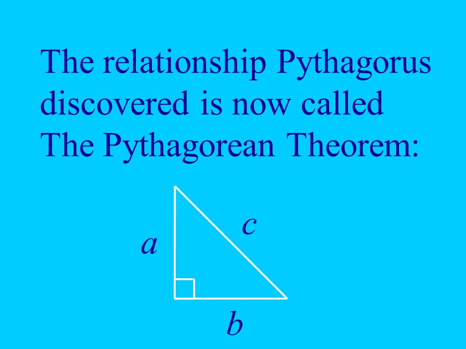 The relationship Pythagorus discovered is now called The Pythagorean Theorem:
