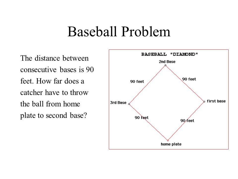 Baseball Problem The distance between consecutive bases is 90