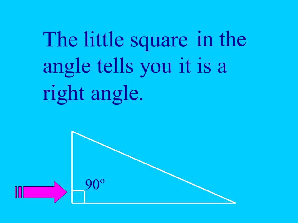 The little square in the angle tells you it is a right angle. 90o