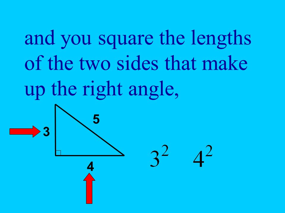 and you square the lengths of the two sides that make up the right angle,