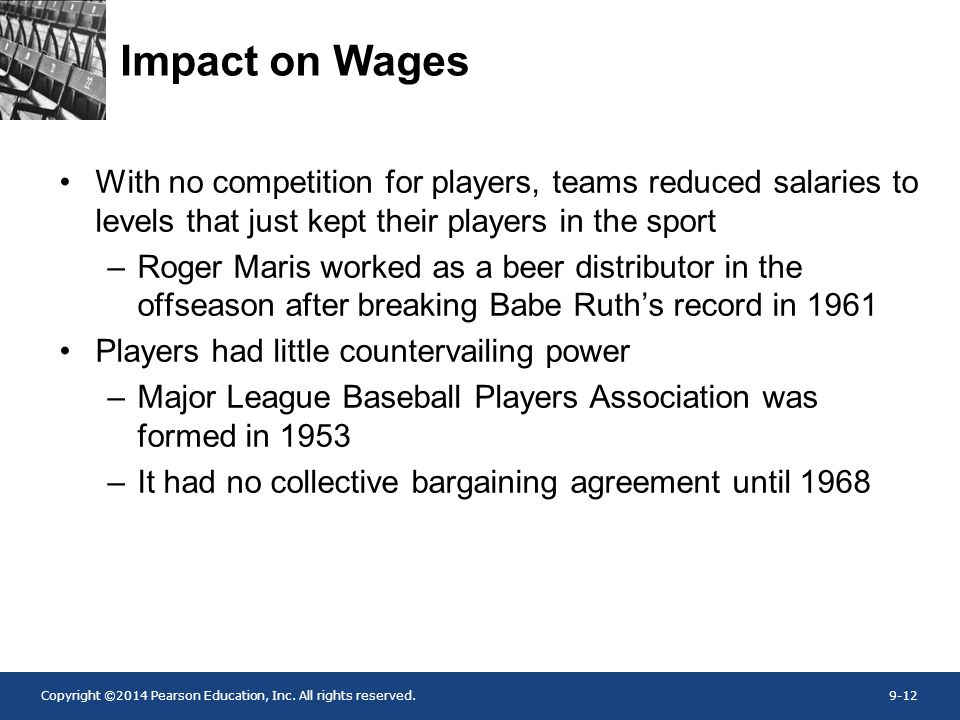 Impact on Wages With no competition for players, teams reduced salaries to levels that just kept their players in the sport.