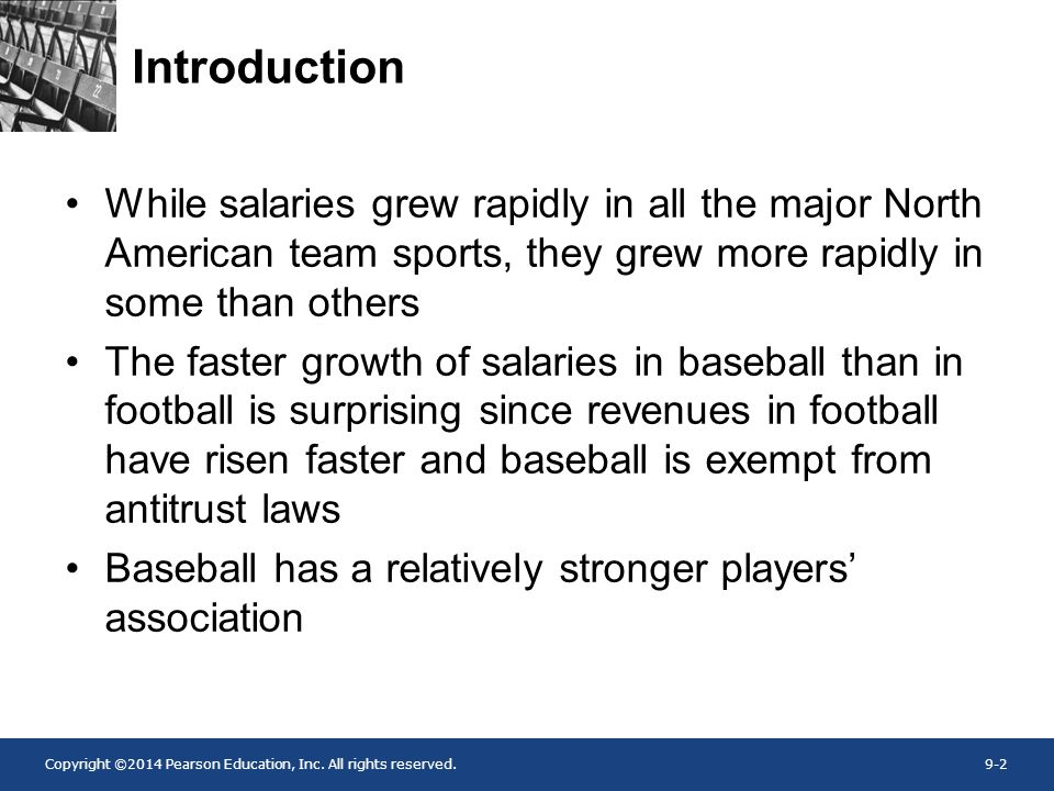 Introduction While salaries grew rapidly in all the major North American team sports, they grew more rapidly in some than others.