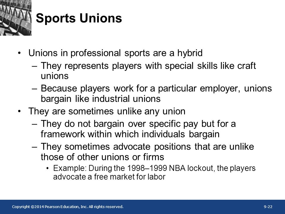 Sports Unions Unions in professional sports are a hybrid