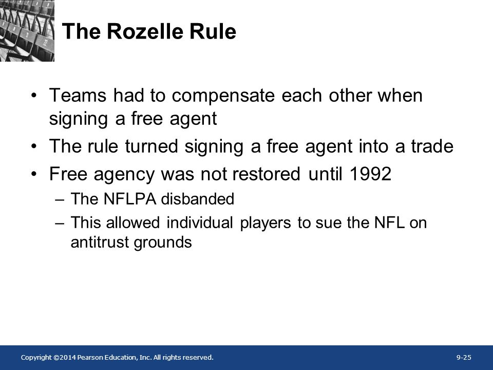 The Rozelle Rule Teams had to compensate each other when signing a free agent. The rule turned signing a free agent into a trade.