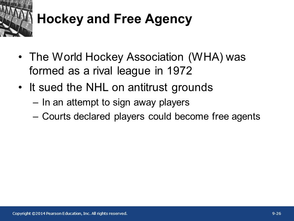 Hockey and Free Agency The World Hockey Association (WHA) was formed as a rival league in 1972. It sued the NHL on antitrust grounds.