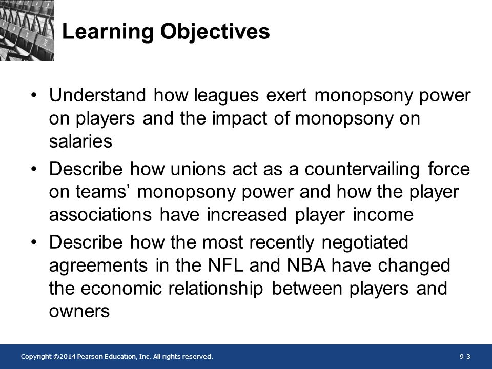 Learning Objectives Understand how leagues exert monopsony power on players and the impact of monopsony on salaries.