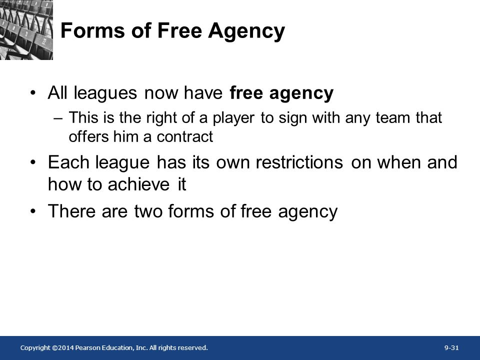 Forms of Free Agency All leagues now have free agency
