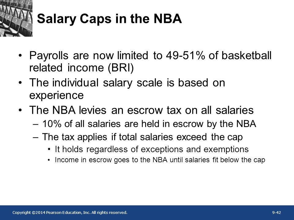 Salary Caps in the NBA Payrolls are now limited to 49-51% of basketball related income (BRI) The individual salary scale is based on experience.