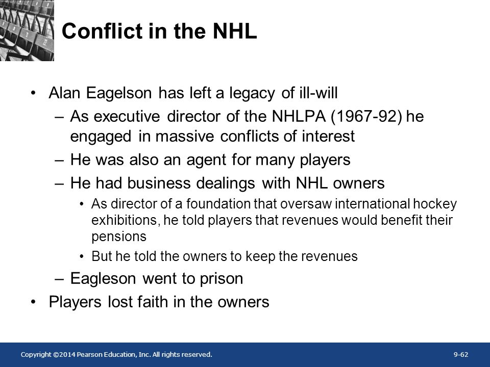 Conflict in the NHL Alan Eagelson has left a legacy of ill-will