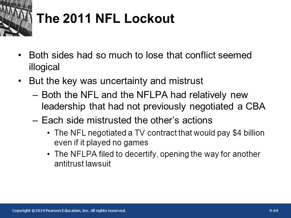 The 2011 NFL Lockout Both sides had so much to lose that conflict seemed illogical. But the key was uncertainty and mistrust.