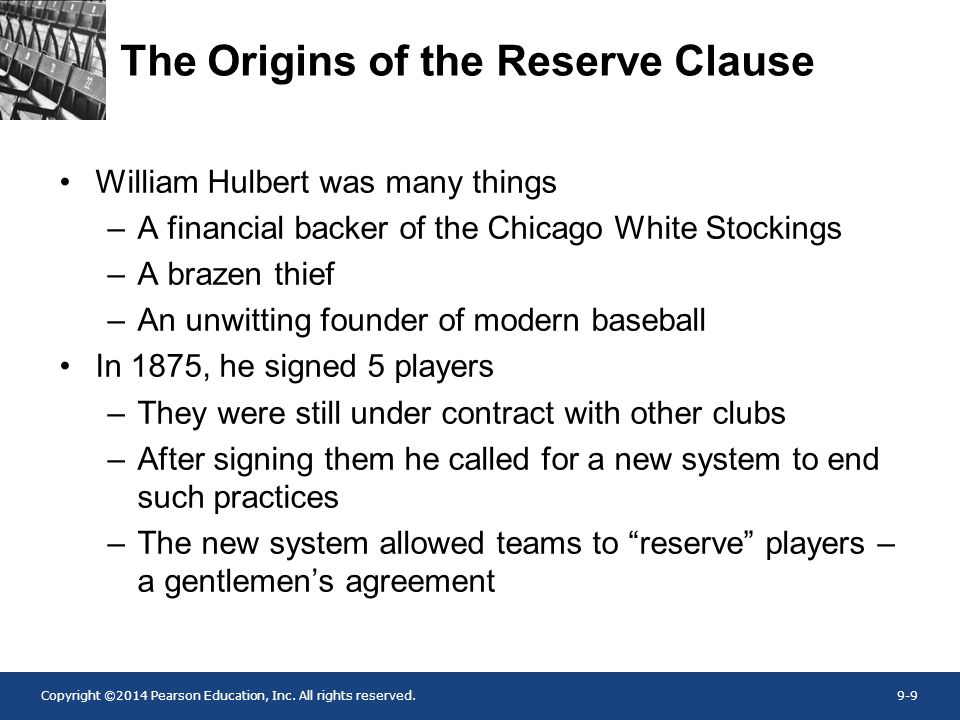 The Origins of the Reserve Clause