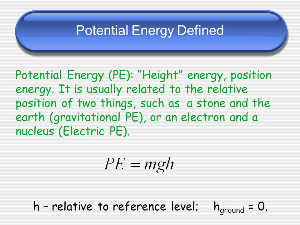Potential Energy Defined