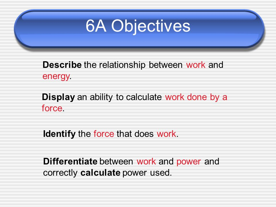 6A Objectives Describe the relationship between work and energy.