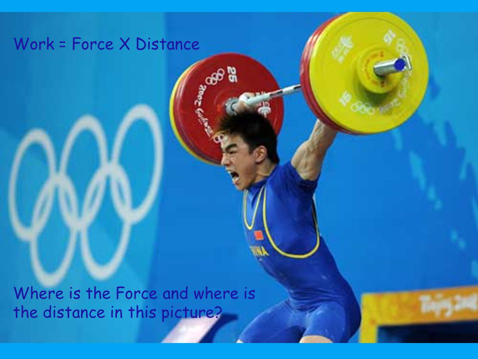Work = Force X Distance Where is the Force and where is the distance in this picture