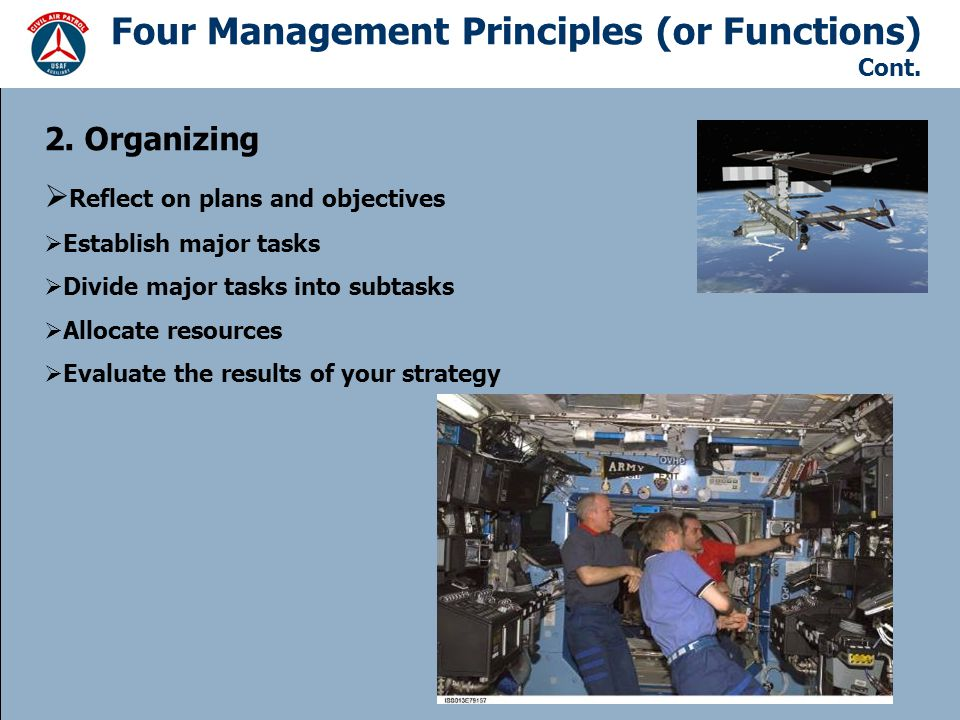 Four Management Principles (or Functions) Cont.