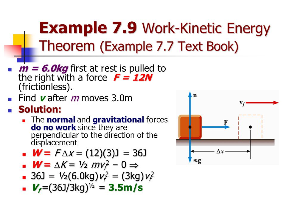 Example 7.9 Work-Kinetic Energy Theorem (Example 7.7 Text Book)