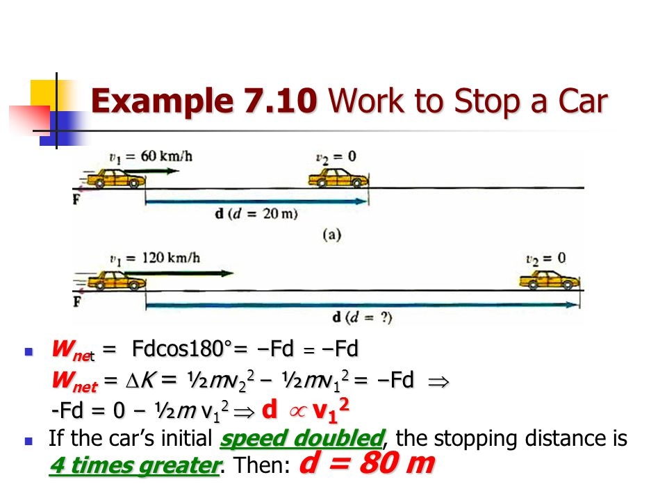 Example 7.10 Work to Stop a Car