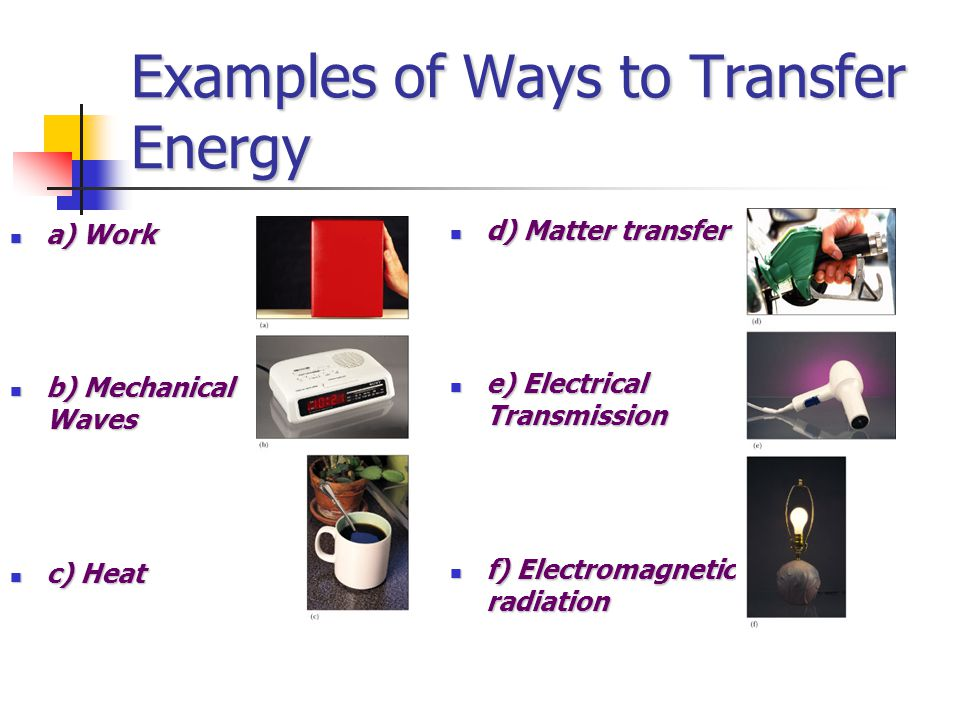 Examples of Ways to Transfer Energy