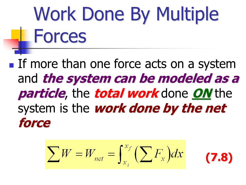 Work Done By Multiple Forces