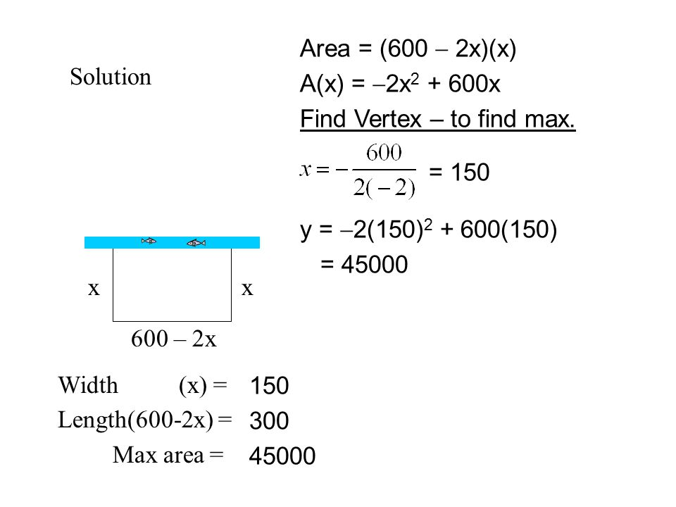 Solution x x 600 – 2x Width (x) = Length(600-2x) = Max area =