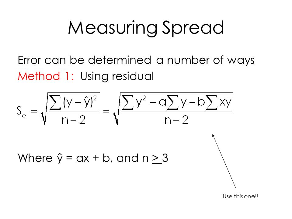 Measuring Spread Error can be determined a number of ways