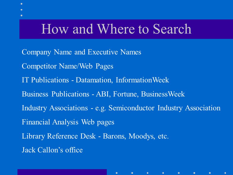 How and Where to Search Company Name and Executive Names