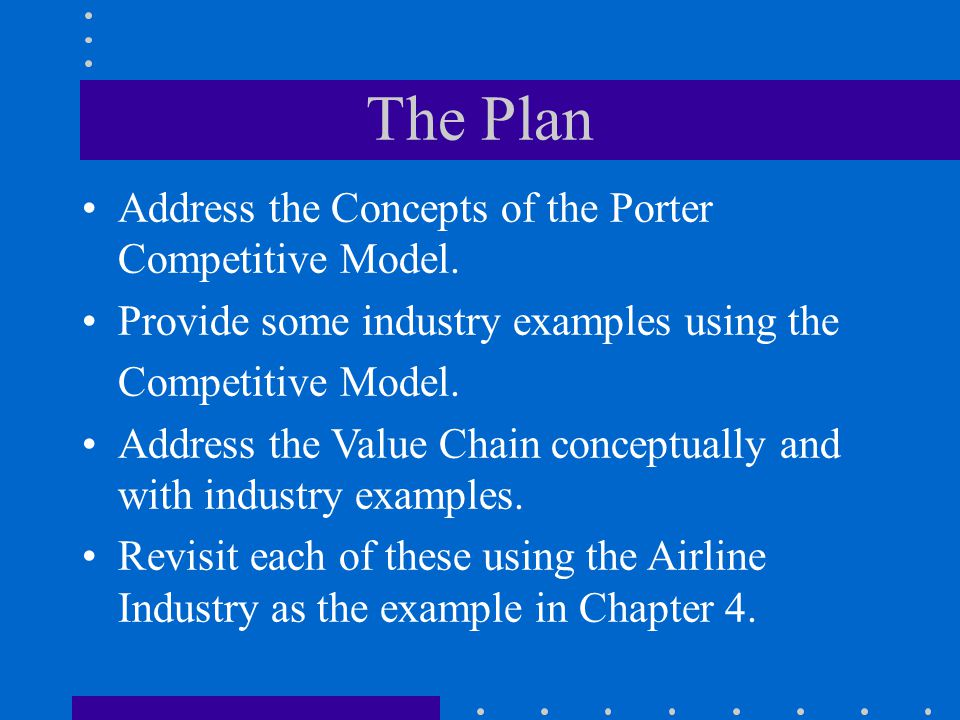 The Plan Address the Concepts of the Porter Competitive Model.