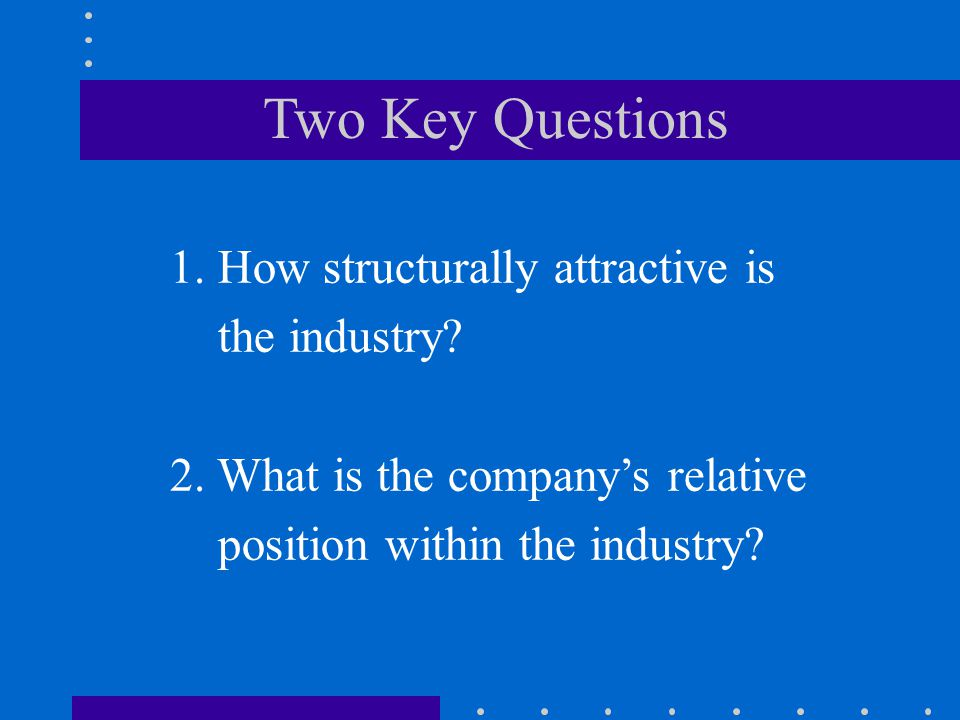 Two Key Questions 1. How structurally attractive is the industry
