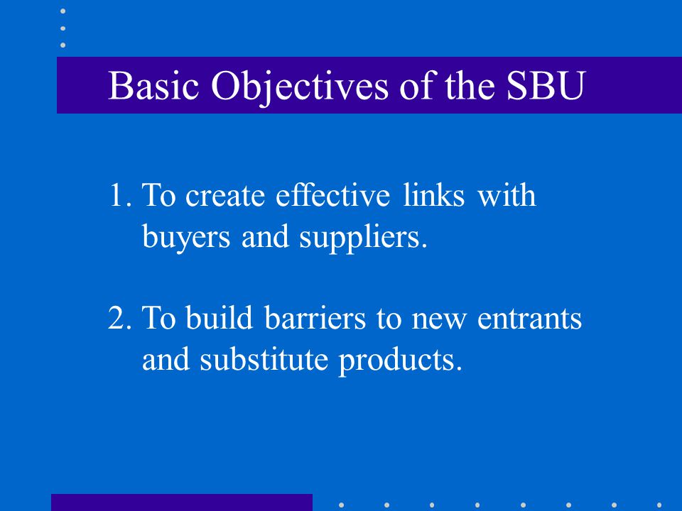 Basic Objectives of the SBU