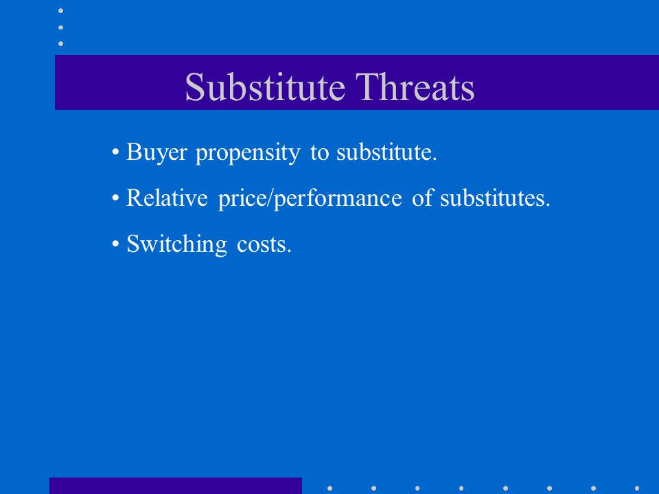 Substitute Threats Buyer propensity to substitute.