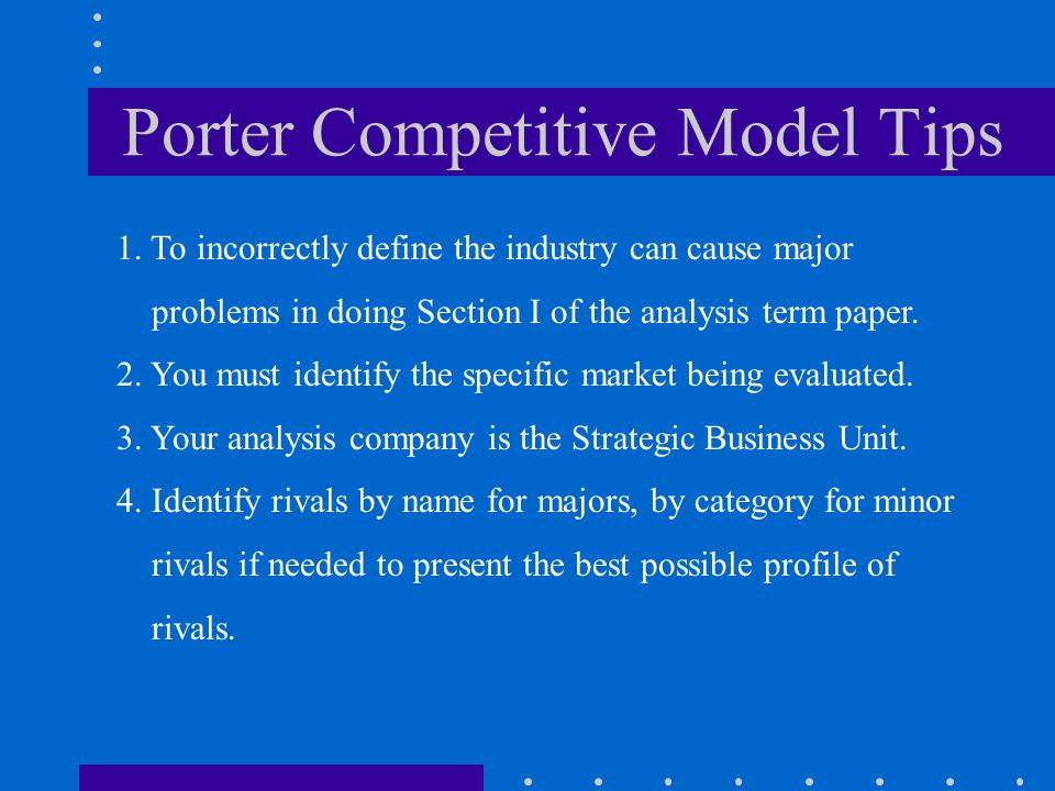 Porter Competitive Model Tips