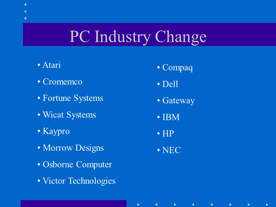 PC Industry Change Atari Compaq Cromemco Dell Fortune Systems Gateway