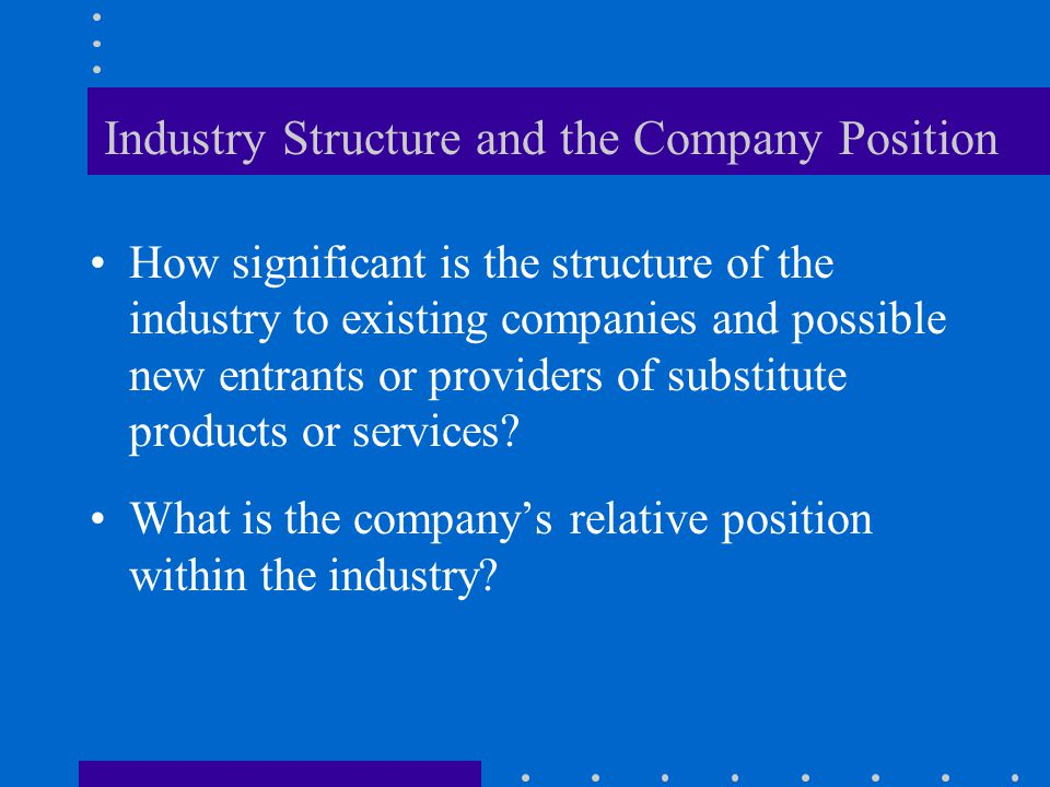 Industry Structure and the Company Position