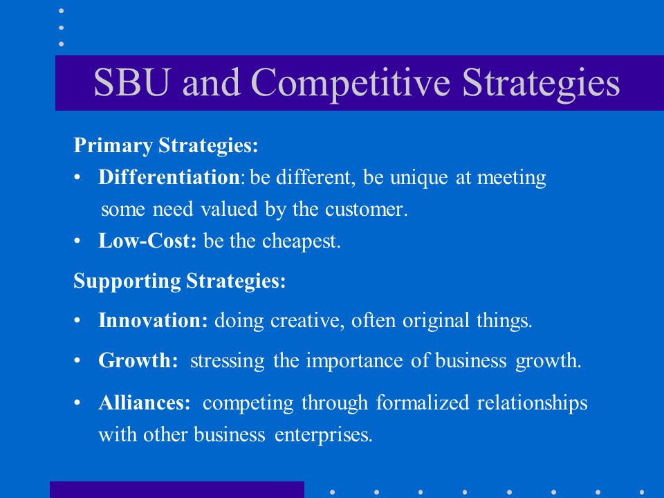 SBU and Competitive Strategies