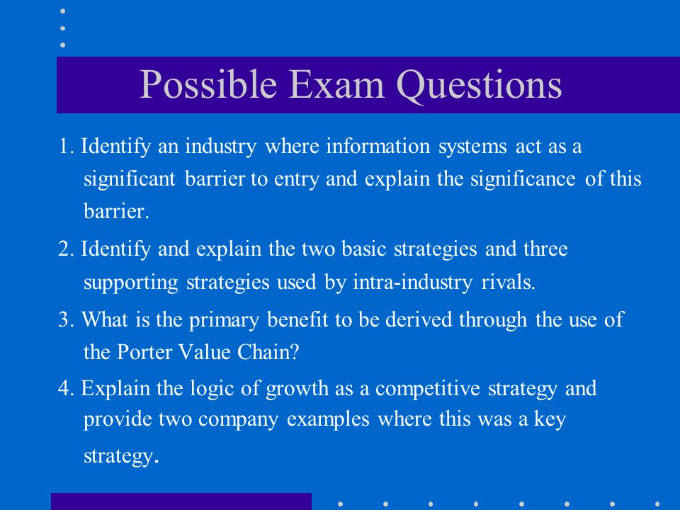 Possible Exam Questions