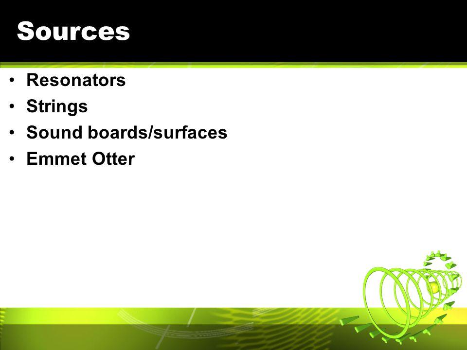 Sources Resonators Strings Sound boards/surfaces Emmet Otter